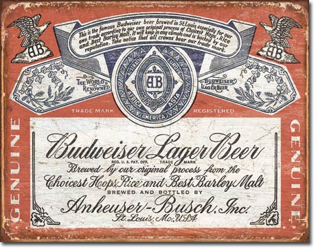 Budweiser Historic Label Tin Sign | Man Cave Authority | 1751
