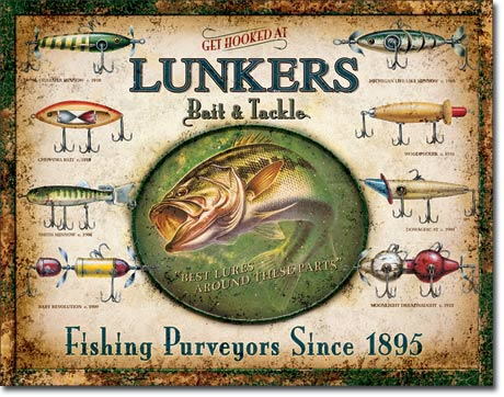 Lunker's Lures Tin Sign | Man Cave Authority | 1757