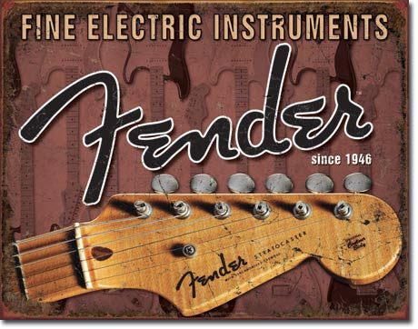 Fender Headstock Tin Sign | Man Cave Authority | 1763