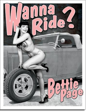 "Bettie Page ""Wanna Ride"" Tin Sign 