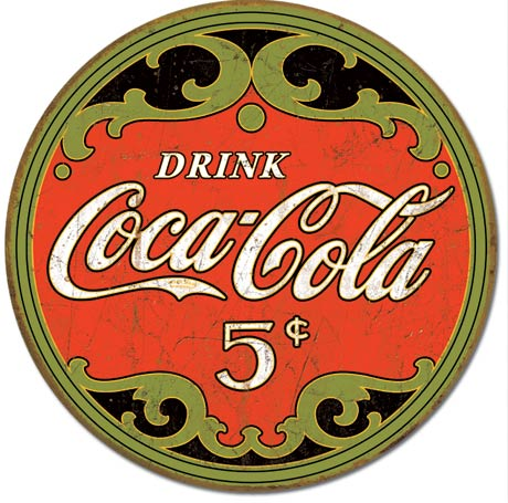 Coke Round Five Cents Tin Sign | Man Cave Authority | 1821