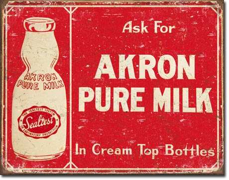 Akron Pure Milk Tin Sign | Man Cave Authority | 1841