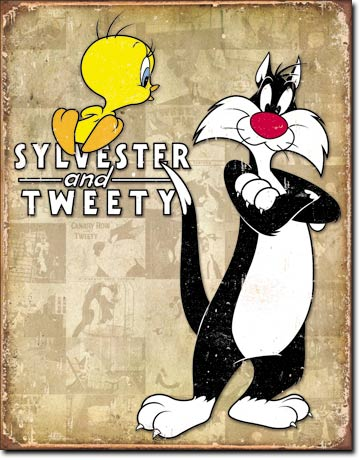 Tweety and Sylvester Retro Tin Sign | Man Cave Authority | 1857