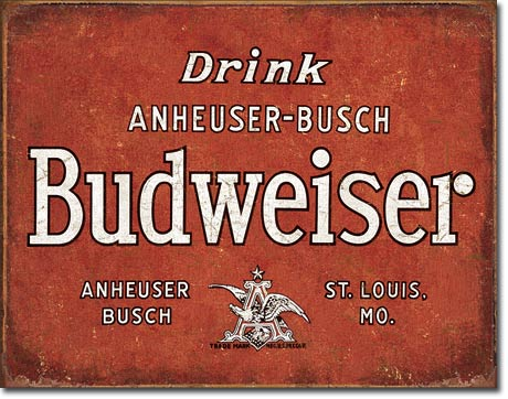Budweiser Drink Tin Sign | Man Cave Authority | 1864