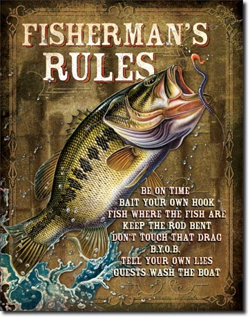 Fisherman's Rules Tin Sign | Man Cave Authority | 1870