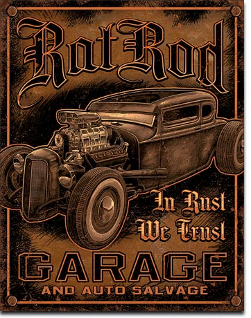 Rat Rod Garage Tin Sign | Man Cave Authority | 1895