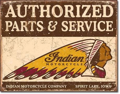 Authorized Indian Parts and Service Tin Sign | Man Cave Authority | 1930