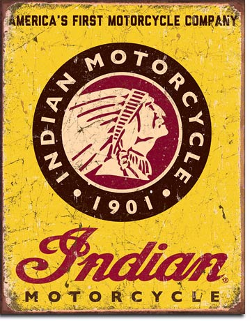 Indian Motorcycles Since 1901 Tin Sign | Man Cave Authority | 1934