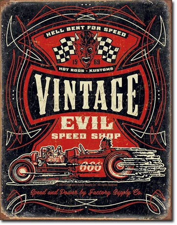 Vintage Evil Hell Bent Rods Tin Sign | Man Cave Authority | 1972
