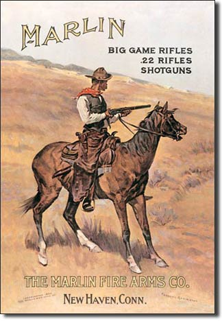 Marlin Cowboy on Horse Tin Sign | Man Cave Authority | 238
