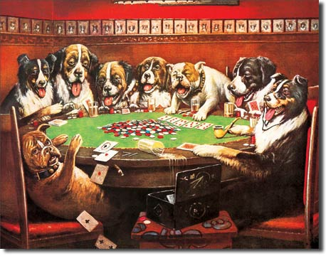 Eight Druken Dogs Playing Cards Tin Sign | Man Cave Authority | 497