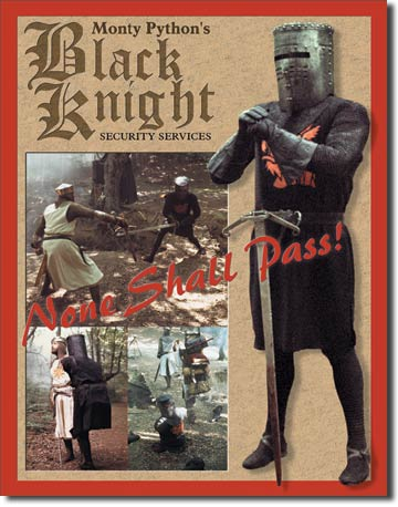 Black Knight Security Tin Sign | Man Cave Authority | 870