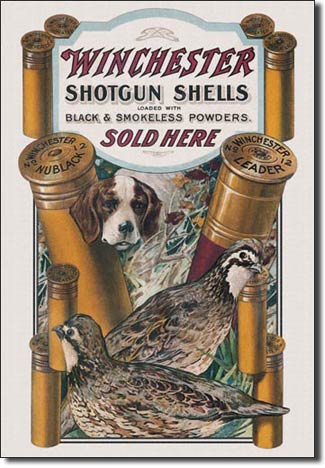 Winchester Dog & Quail Tin Sign | Man Cave Authority | 940