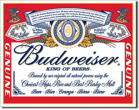 Budweiser Label Tin Sign | Man Cave Authority | 979