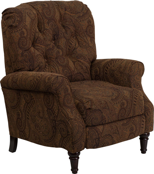 Traditional Tobacco Fabric Tufted Hi-Leg Recliner | Man Cave Authority | AM-2650-6370-GG