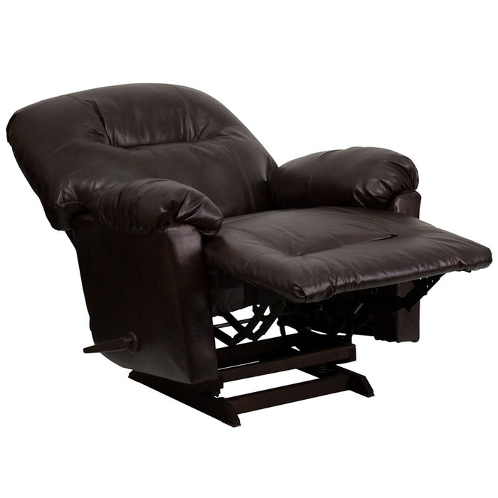 Bentley Brown Leather Rocker Recliner | Man Cave Authority | AM-C9350-9075-GG