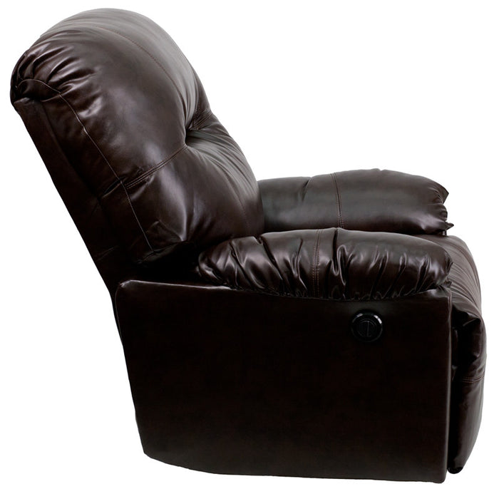 Bentley Brown Leather Power Recliner | Man Cave Authority | AM-CP9350-9075-GG