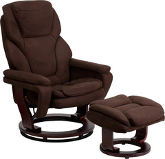 Beckett Microfiber Swivel Recliner with Ottoman and Mahogany Base | Man Cave Authority | BT-70222-MIC-FLAIR-GG