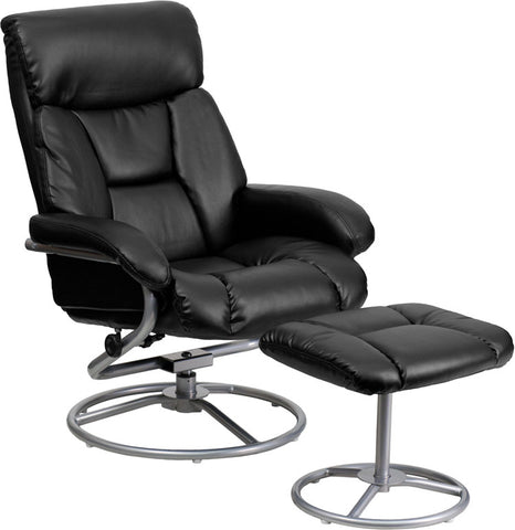 Denton Overstuffed Contemporary Leather Swivel Recliner with Ottoman (BLK, BRN)