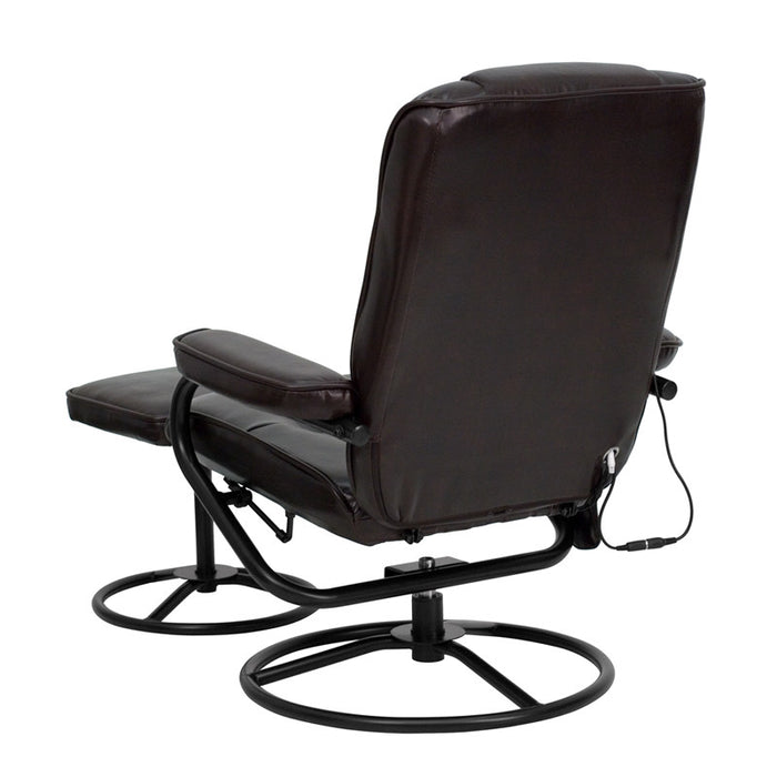 Findlay Massaging Brown Leather Recliner with Ottoman | Man Cave Authority | BT-703-MASS-BN-GG