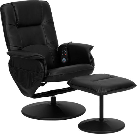 Vernon Black Massaging Leather Recliner with Ottoman