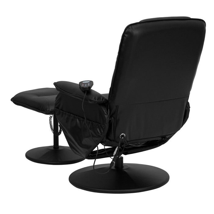 Vernon Black Massaging Leather Recliner with Ottoman | Man Cave Authority | BT-753P-MASSAGE-BK-GG