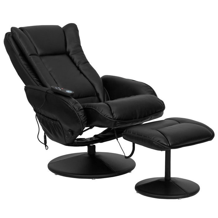 Carsten Black Massaging Leather Recliner with Ottoman | Man Cave Authority | BT-7672-MASSAGE-BK-GG
