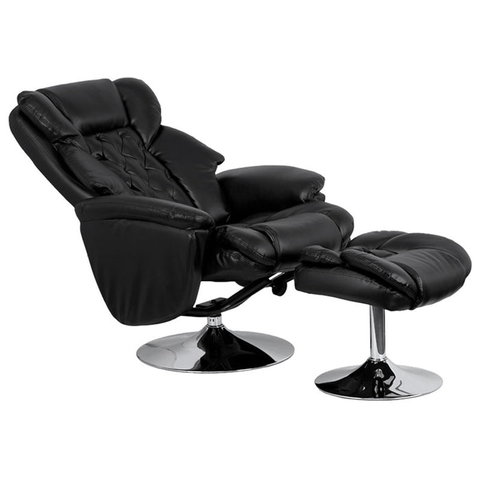 Transitional Black Leather Recliner and Ottoman with Chrome Base | Man Cave Authority | BT-7807-TRAD-GG