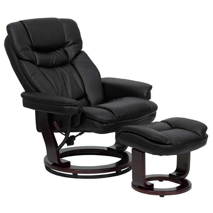 Caiden Contemporary Leather Swivel Recliner with Ottoman and Mahogany Base (BLK, PAL) | Man Cave Authority | BT-7821-BK-GG