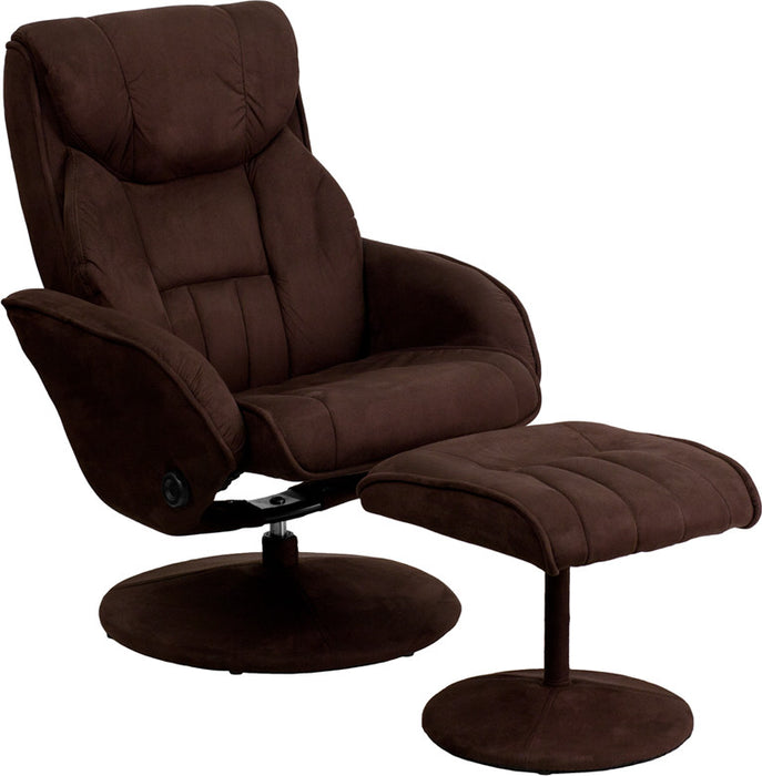 Gresham Overstuffed Contemporary Microfiber Swivel Recliner with Ottoman | Man Cave Authority | BT-7895-MIC-PINPOINT-GG