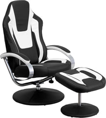 Black and White Racing Chair with Tension Control Recline | Man Cave Authority | CH-125695-3-GG