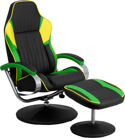 Black Yellow and Green Vinyl Racing Chair with Tension Control Recline