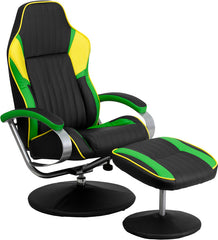 Black Yellow and Green Vinyl Racing Chair with Tension Control Recline | Man Cave Authority | CH-125696-2-GG