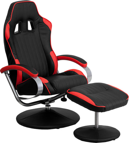 Red and Black Racing Chair with Tension Control Recline