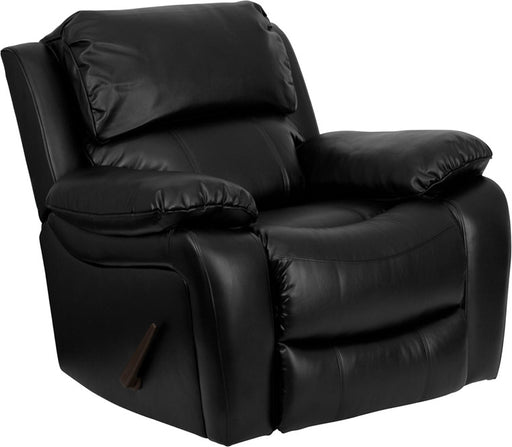 Tarquin Leather Rocker Recliner With Pillow Headrest and Handle Recline (BLK, BRN) | Man Cave Authority | MEN-DA3439-91-BK-GG