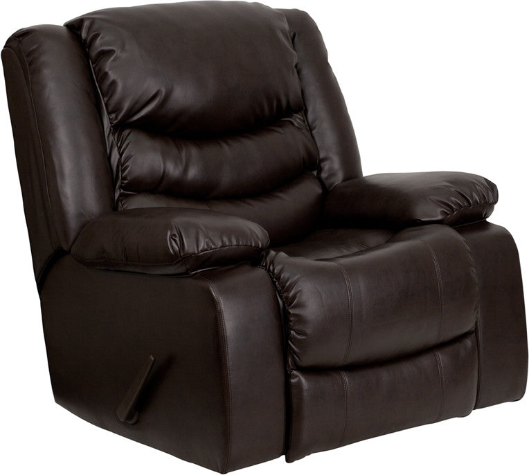 Patton Leather Large Rocker Recliner With Pillow Headrest | Man Cave Authority | MEN-DSC01078-BRN-GG