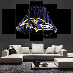5 Panel Baltimore Ravens Gloves Canvas Wall Print