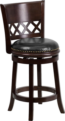 Remington Counter Height Swivel Bar Stool with Leather Cushion and Cappuchino Finish