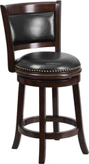 Ashton Counter Height Swivel Bar Stool with Cushioned Leather Seat and Cappuchino Finish | Man Cave Authority | TA-61024-CA-CTR-GG