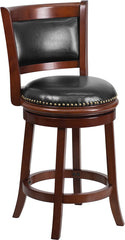 Ashton Counter Height Swivel Bar Stool with Cushioned Leather Seat and Cherry Finish | Man Cave Authority | TA-61024-CHY-CTR-GG