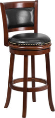 Ashton Swivel Bar Stool with Cushioned Leather Seat and Cherry Finish | Man Cave Authority | TA-61029-CHY-GG