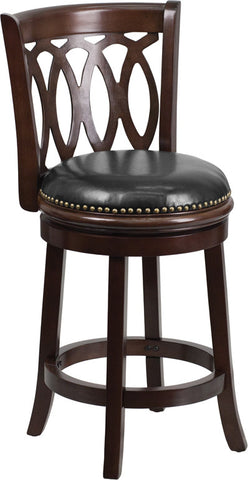 Osborn Counter Height Swivel Bar Stool with Leather Cushion and Cappuchino Finish