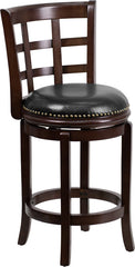 Easton Counter Height Swivel Bar Stool with Leather Cushion and Cappuchino Finish | Man Cave Authority | TA-68524-CA-CTR-GG