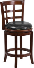 Easton Counter Height Swivel Bar Stool with Leather Cushion and Cherry Finish | Man Cave Authority | TA-68524-CHY-CTR-GG