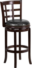 Easton Swivel Bar Stool with Leather Cushion and Cappuchino Finish | Man Cave Authority | TA-68529-CA-GG