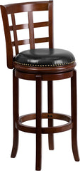 Easton Swivel Bar Stool with Leather Cushion and Cherry Finish | Man Cave Authority | TA-68529-CHY-GG