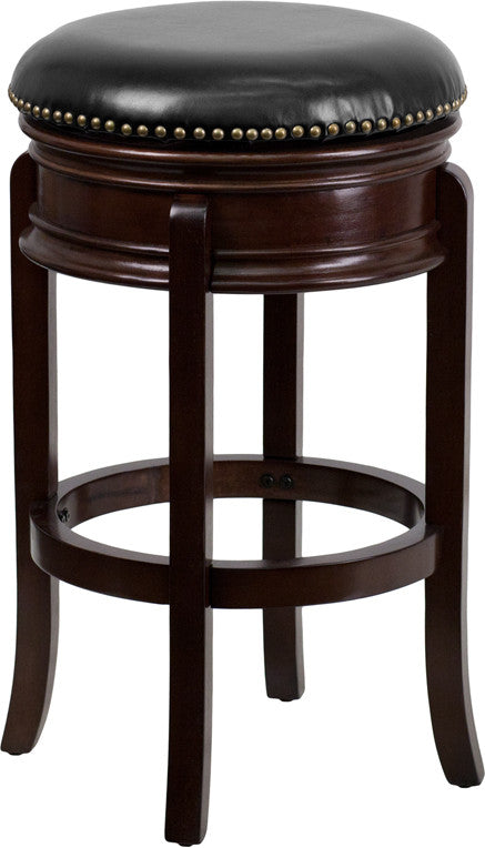 Drayton Swivel Bar Stool with Leather Cushion and Cappuchino Finish | Man Cave Authority | TA-68829-CA-GG