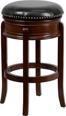 Drayton Swivel Bar Stool with Leather Cushion and Cherry Finish | Man Cave Authority | TA-68829-CHY-GG