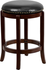 Halston Counter Height Swivel Bar Stool with Leather Cushion and Cherry Finish | Man Cave Authority | TA-68924-CHY-CTR-GG