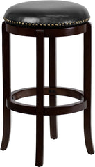 Halston Swivel Bar Stool with Leather Cushion and Cappuchino Finish | Man Cave Authority | TA-68929-CA-GG